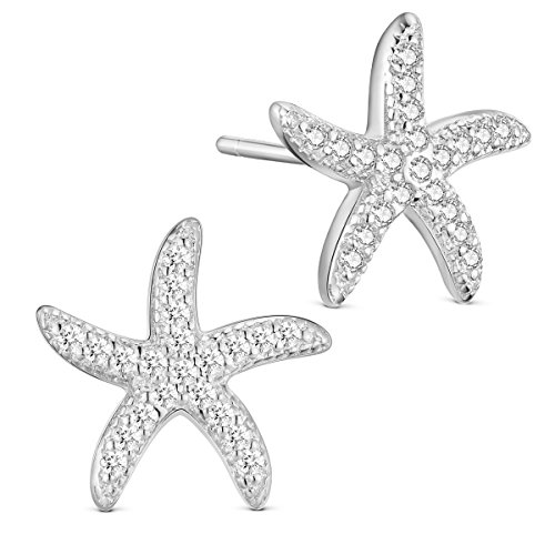 SHEGRACE Damen Seestern Ohrringe aus 925 Sterling Silber Platin, Rotgold, Vergoldet + Zirkonia Micro Pavé 3A Ohrringe, Geschenk für den Strand