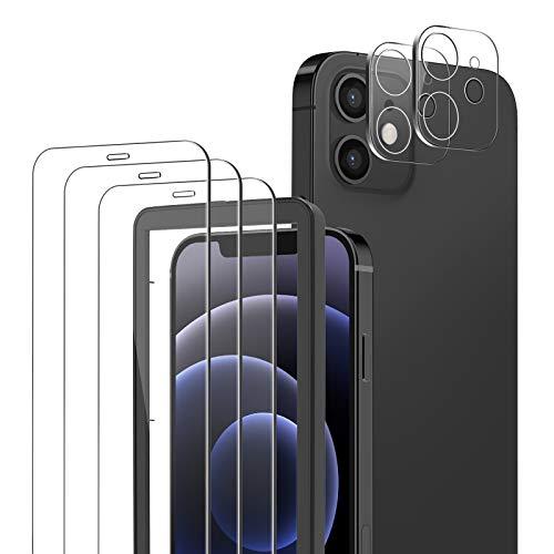 yotame 3 Pezzi Vetro Temperato Compatibile con iPhone 12, 2 Pezzi Pellicola Fotocamera, Durezza 9H Pellicola Protettiva con Cornice di allineamento Senza Bolle Protezione Schermo per iPhone 12