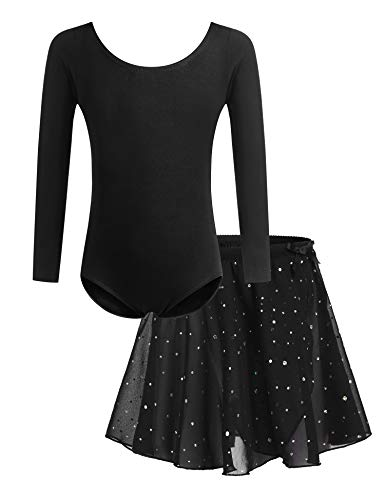 Bricnat Mädchen Ballettkleidung Ballettkleid Tanzbody Gymnastikanzug Balletttrikot Langarm Tanzkleid mit Tütü Kinder Baumwolle Schwarz 140
