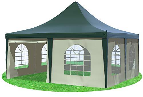 Stabilezelte Gartenpavillon 5x5m mit Seitenteilen Arabica Pagodenzelt PVC GRÜN BEIGE