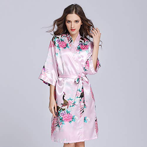 HPKC Personalizado Kimono del Traje de Raso, satén Floral Albornoz de la Mujer, Mujeres Bata, Albornoz con Cuello en V Ropa de Dormir camisón,H,M