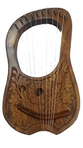Lyre Harfe 10 Metallsaiten Rosenholz Blumen Design Natur Finish handgraviert Lyra Hrp Shesham Holz