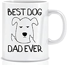 BEST DOG DAD EVER From Grumpy Dog Funny Mug Design for Dog Lover Dads – White Coffee Mug in Decorative Blue Ribbon Gift Box – Gifts for Dads, Men, Father, Friends - Foam Box Protected - 11 Oz