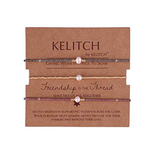 KELITCH 3 STK Mischen Perle Farbe Miyuki Perlen Charme Freundschaft Armbänder Handgefertigt Strecken Armband Einstellbar Armbänder Zum Damen Mädchen - Kombination B