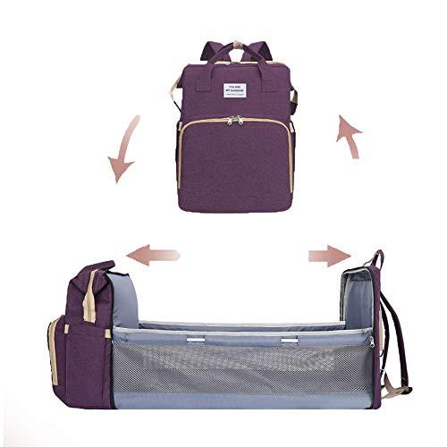 MaikcQ Último 3 en 1 portátil de gran capacidad, doble hombro con cambiador de cama, cama plegable para bebé, bolsa de bebé, cuna portátil, impermeab