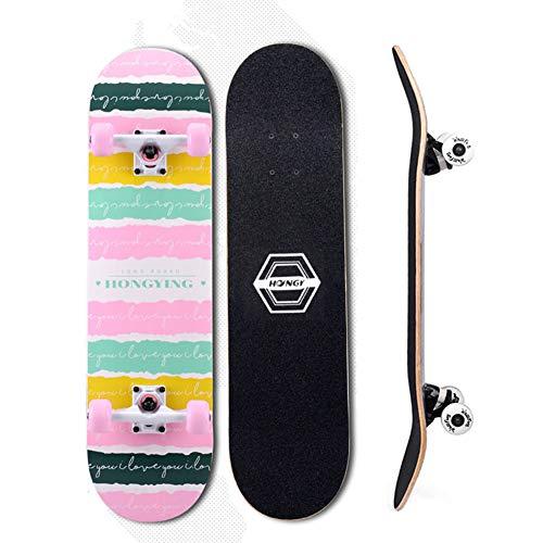 VOMI Skateboard Kinder Skateboard Für Anfänger, Standard Skateboard 31X8 Zoll Professional Standard Skateboard Vollpension Skateboard Für Skateboard Kinder Ab 10 Jahre Mädchen Jungen