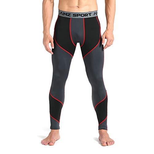 AMZSPORT Pantaloni Compressione da Uomo Calzamaglia Corsa Leggins Palestra Sportivi Rosso L