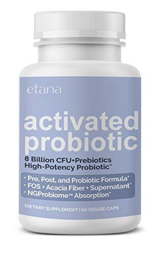 Etana — Activated Probiotic — 8 Billion CFU Living Probiotics — for Digestive, Immune, & Overall Health — Pre-, Post-, and Probiotic Capsules - 60 ct. — Vegetarian, No Artificial Colors or Flavors