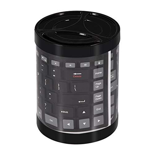 Richer-R Faltbare Silikon-Tastatur, Tragbare Wasserdichte weiche Mini Wireless Bluetooth Tastatur,Flexibel Drahtlos Faltbar Tastatur Silikagel Keyboard für Laptop/PC/Mobiltelefon/Tablet(Schwarz)