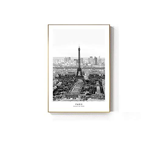 ZQXXX Pirámide imágenes artísticas de pared en blanco y negro para sala de estar pintura abstracta carteles impresiones minimalistas decoración -50x70cm sin marco