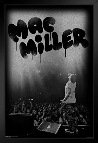Pyramid America Mac Miller Live in Concert Music Swimming Poster from Vinyl CD Cover Art Kids Wall Art Black Wood Framed Poster 20x14