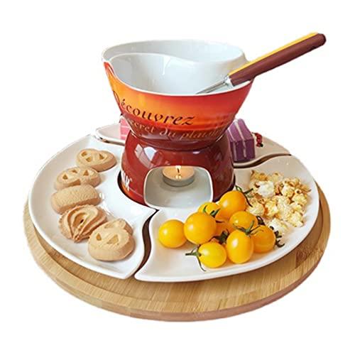 Fondue de Queso Fondue Set Snack Bowl para Fondue de Chocolate Fondue Fondue o Butter Fondue Disfrutar Delicioso (Color : Marrón, Size : 15x14cm)
