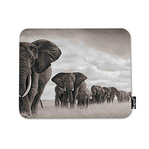 Mugod Elephant Mouse Pad Elephant Walking on The African Savannah Grassland Grey Mouse Mat Non-Slip Rubber Base Mousepad for Computer Laptop PC Gaming Working Office & Home 9.5x7.9 Inch
