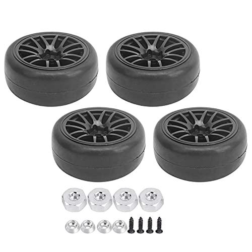 WYDM Neumático RC de 4 Piezas, neumático de Goma a Escala 1/10 de 65 mm de diámetro y Ruedas compatibles con el Coche de Control Remoto D12 1:10