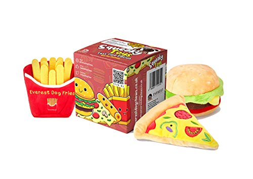 Everest Fast Food Hundespielzeug mit Quietschelement, Burger Pizza & Pommes