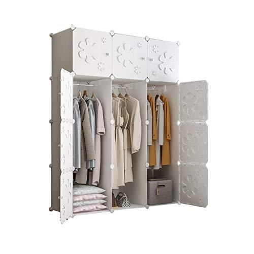 Guardaroba Scaffalatura modulare Bagagli organizzatore Armadio con Ante e Cube Design for Abbigliamento Calzature e Giocattoli e Libri (2 Stili) FANJIANI (Size : 111x47x147cm)