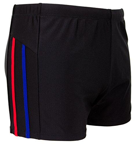 GUGGEN Mountain Short de bain pour homme TS-5-6 - Short de bain court - Coupe ajustée - Rouge/bleu/orange/noir à rayures - Rouge - Small
