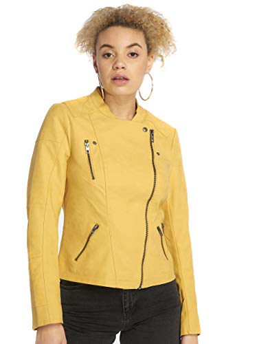 ONLY Onlava Faux Leather Biker Otw Noos Giacca, Donna, Giallo (Yolk Yellow Yolk Yellow), 46 (Taglia produttore: 42)