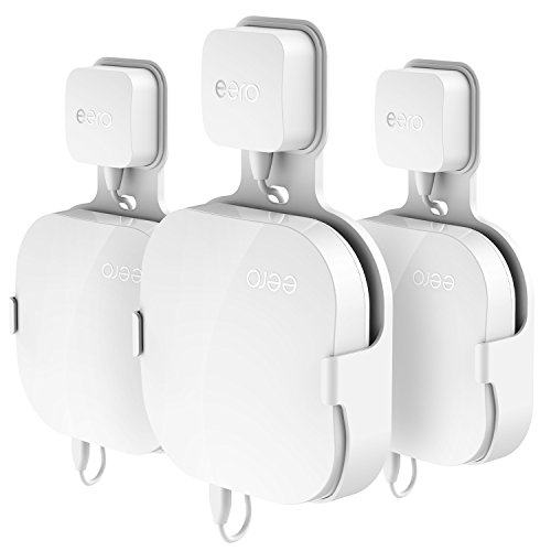 Wall Mount Holder for eero Pro Home WiFi, The Simplest Wall Mount Holder Stand Bracket for eero Pro WiFi System Router No Messy Screws! (White(3 Pack))