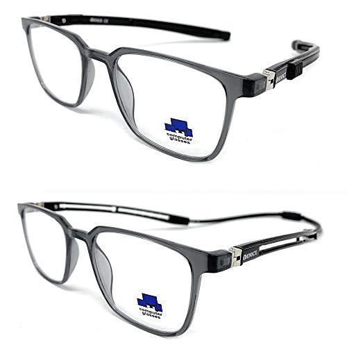 New Model 2021 TR90 EXTENSIBLE Gafas de lectura con filtro bloqueo luz azul para gaming, ordenador, móvil. Anti fatiga IMAN extensible unisex Venice (Negro, 1.50)