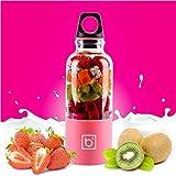Hefacy Licuadora portátil licuadora eléctrica licuadora batidora batidora picadora de hielo de frutas 500 ml taza de carga USB (verde, rojo, rosa, azul, morado) Baibao (color: rosa)
