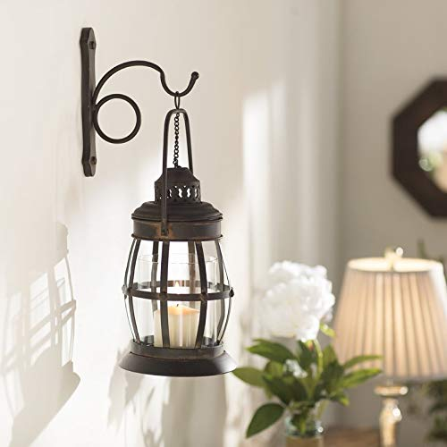 Metal Lantern Wall Sconce Rustic Industrial Antique Vintage Shabby Unique Chic