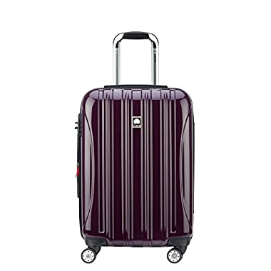 Delsey Luggage Helium Aero, Carry On Luggage, Hard Case Spinner Suitcase, Plum Purple