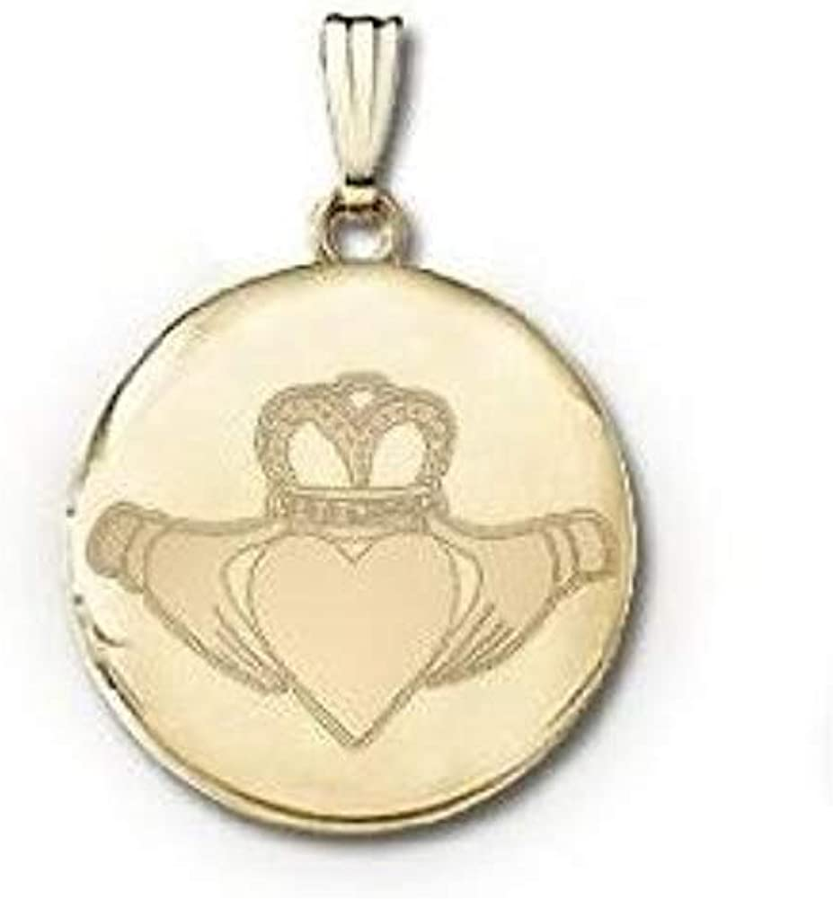 14k Yellow Gold Round Celtic Claddagh Picture Locket - Over 3/4 Inch X 3/4 in with Engraving