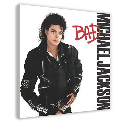 Póster de Michael Jackson Bad Album de la portada de la lona del póster de la pared del arte de la decoración de la sala de estar del dormitorio de 50 x 50 cm, marco1