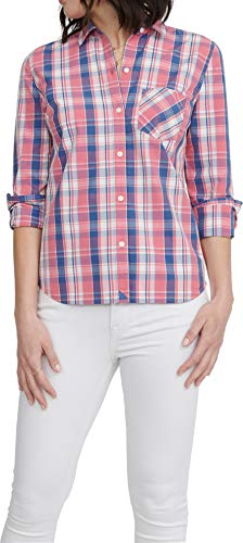 UNTUCKit LaConda - Women's Button Down Shirt Long Sleeve Blouse Red and Blue Plaid Size 14 Regular Fit