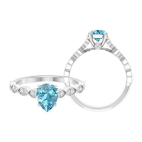 Anillo de compromiso en forma de lágrima, D-VSSI Moissanite Anillo, anillo de oro (6x8 mm, solitario en forma de pera) 14K Oro blanco