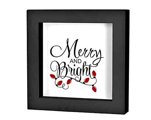 onbekend Wall Art Kerstmis Schaduw Box Decal Kerst Decoratie Vrolijk en Helder Vinyl Decal Holiday Sign Kerstmis Decal Holiday Plate houten plaque, op maat cadeau