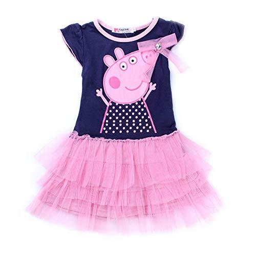 Uni-Wert Niñas Vestidos, Lindo Vestido T-Shirt Manga Corta Algodón Casual Dibujos Animados Falda Princesa 2-7 años