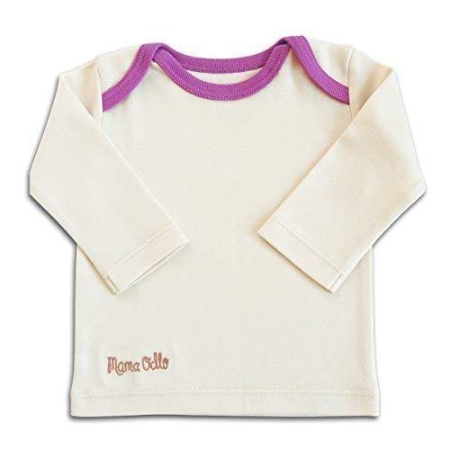 Mama Ocllo - Bebé -camisa Schlupf-, Bio Pima Algodón,Americano Escote,Ropa Interior, Camiseta - Beige/Ciruela, 4-7 Monate