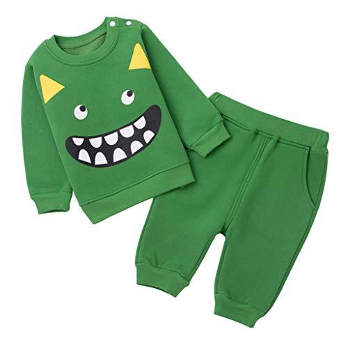 Baby Sweatshirts en Broeken Kledingsets Kids Trainingspakken Lange mouwen Tops Broek 9-12 Months Groen