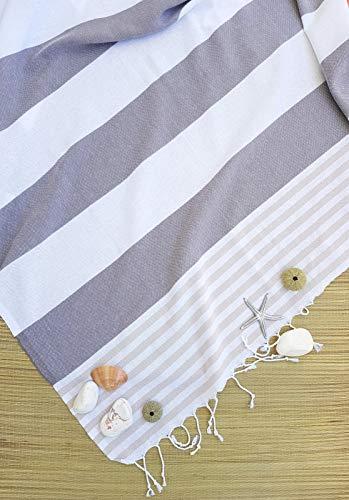 Belle Living Toalla de sauna, toalla de playa, toalla de hamam (Striped Peshtemal), fitness/yoga/playa/spa, 100% algodón, ligera y absorbente, toalla de secado rápido (rayas marrones)