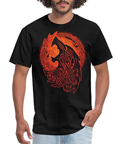 Spreadshirt Norse Wolf Fenrir Celtic Knotwork Men's T-Shirt, 5XL, Black