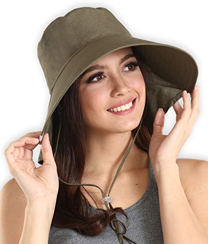 UV Protection Cotton Sun Hat with Ponytail Hole & Chin Strap - Packable & Stylish Wide Brim Summer Hat for Women. Perfect for Beach Travels, Hiking, Gardening & Outdoor Adventures