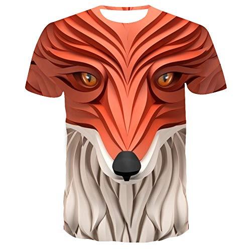 Sunofbeach Unisex 3D Camiseta Divertidas Impresa Personalizada Verano Casual tee Shirts, Novedad Abstracción Geométrica Animal Cabeza Fox,XXXL