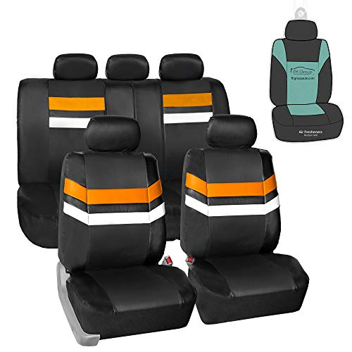 FH Group PU006115 Varsity Spirit PU Leather Seat Covers (Orange) Full Set with Gift - Universal Fit for Trucks, SUVs, and Vans