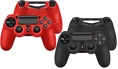 Cute Critters 2 PCS PS4 Controller Case - Soft Anti-Slip Silicone Grip Case Protective Shell Cover Skin for Sony Playstation 4 PS4 Wireless Game Gaming Controller(red/Black)