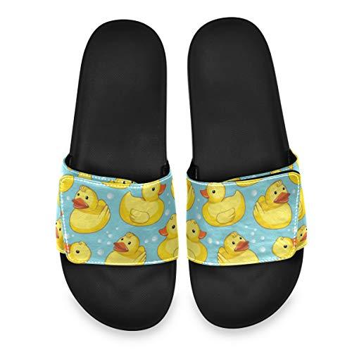PUXUQU Süß Gelb Ente Herren DamenBadeschuheHausschuheSlippersVerstellbaren,SommerSlidePantolettenBadelatschenStrandSandalenrutschfestBadenBadelatschen