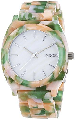 Nixon Time Teller Acetate Mint Julep - Reloj de Cuarzo para Hombre, Correa de plástico Multicolor