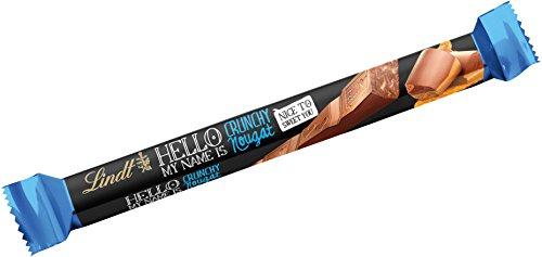 Lindt & Sprüngli HELLO Crunchy Stick, Vollmilch-Schokolade mit Nougat, Haselnusskrokant und Waffelstückchen, 39 g