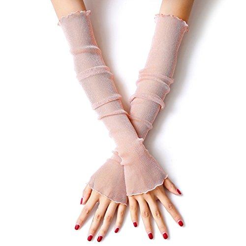 LJSLYJ Damen Spitze Armstulpe Atmungsaktiv Armschutz Anti-UV Schutzt Abdeckung für Outdoor Sports Arme Kühler Sportstulpe Arms Sleeves 1 Paar (Nacktes Rosa)