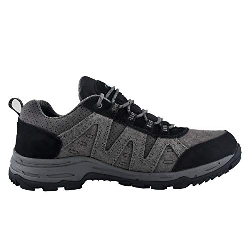 riemot Zapatillas Trekking para Hombre, Zapatos de Senderismo Calzado de Montaña Escalada Aire Libre Impermeable Ligero Antideslizantes Zapatillas de Trail Running, Negro Gris EU 43