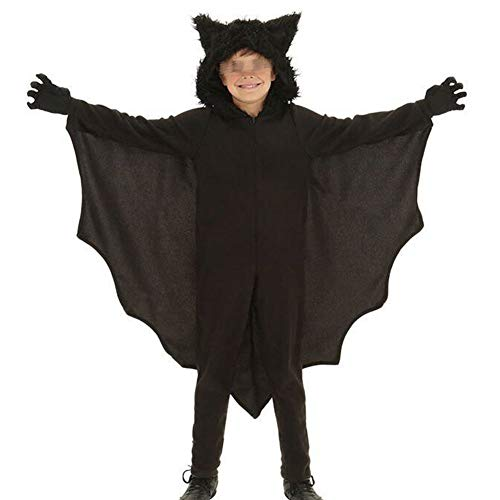 Disfraz de Murciélago para Halloween Traje Completo Divertido para Familia Mujer Hombre Niño con Capucha Manga Larga para Fiesta de Cosplay (Negro - Niño, M)
