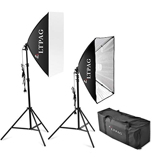LTPAG 50x70cm Softbox Fotografico Illuminazione Kit, E27 540W Presa Elettrica Kit, Softbox kit Professionale Illuminazione,per Ritratto da Studio Fotografico,Fotografia di Prodotti e Ripresa di Video