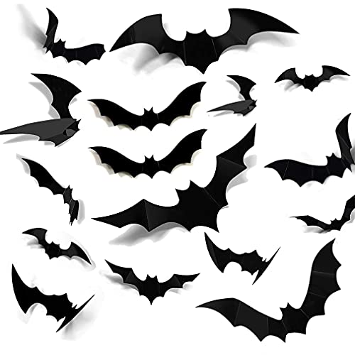 Huge 3D Halloween Bats Sticker 120PCS 2021 Upgraded Decoration Realistic PVC Scary Black Bat Sticker for Home Decor DIY Wall Decal Hallowmas Party Supplies