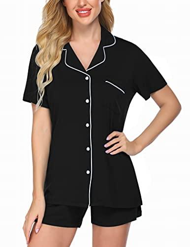 Ekouaer Slip Pajama Set Womens Short Sleepping Night Wear Set Soft Summer Loungewear (Black, Medium)